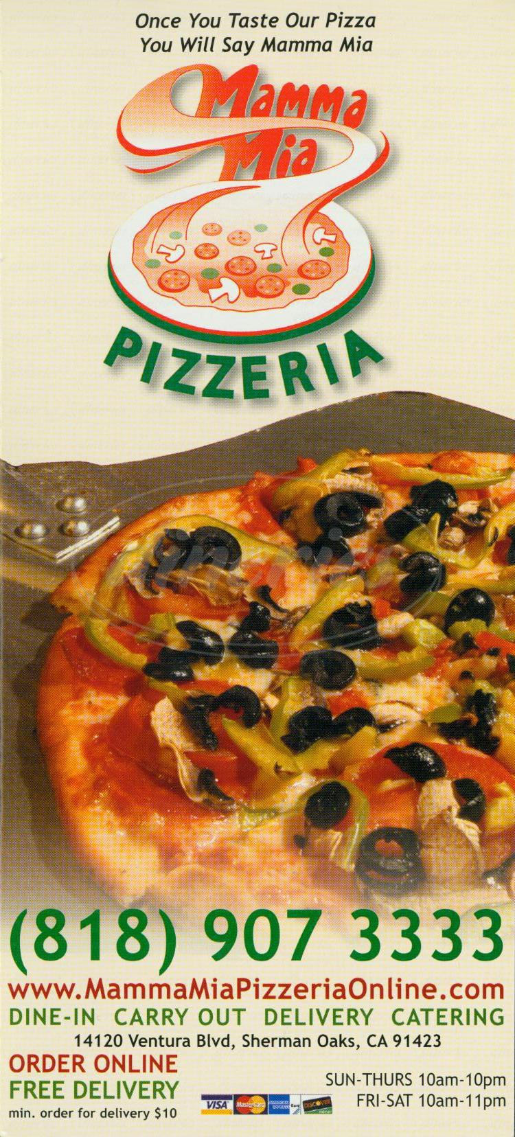menu for Mamma Mia Pizzeria