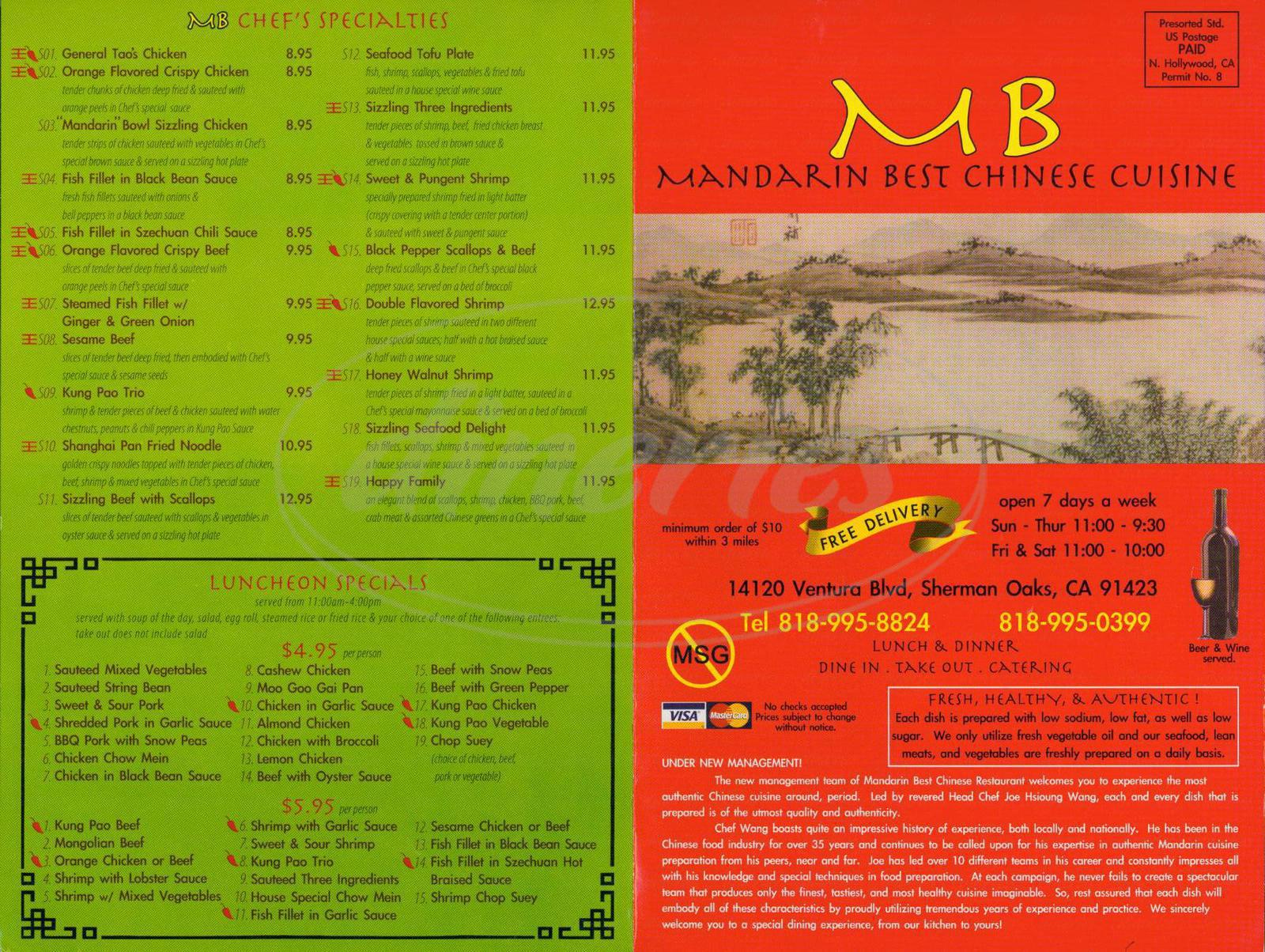 menu for Mandarin Best