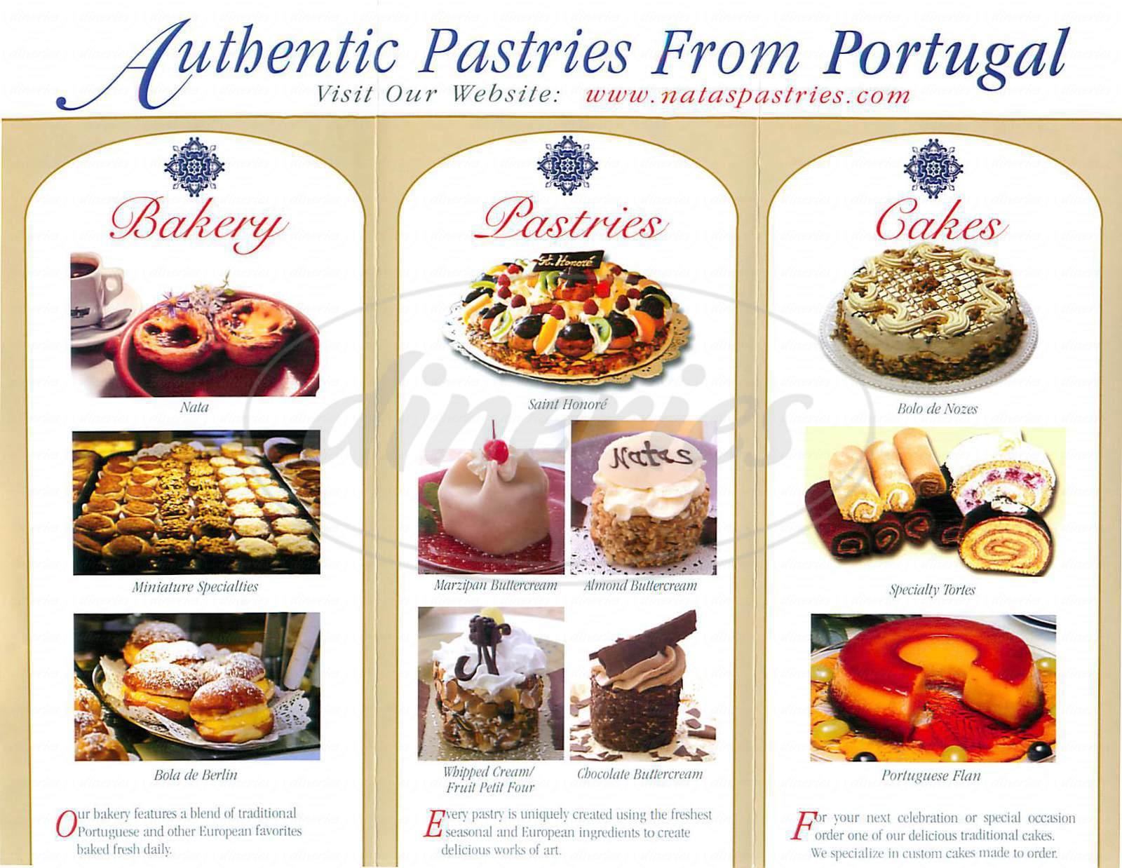 menu for Natas Pastries
