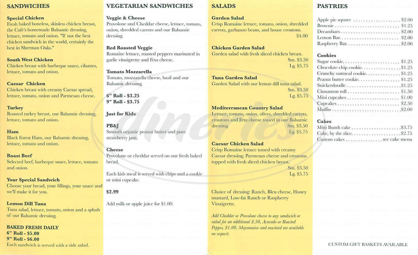 menu for Cafe Unforgettable Cakes