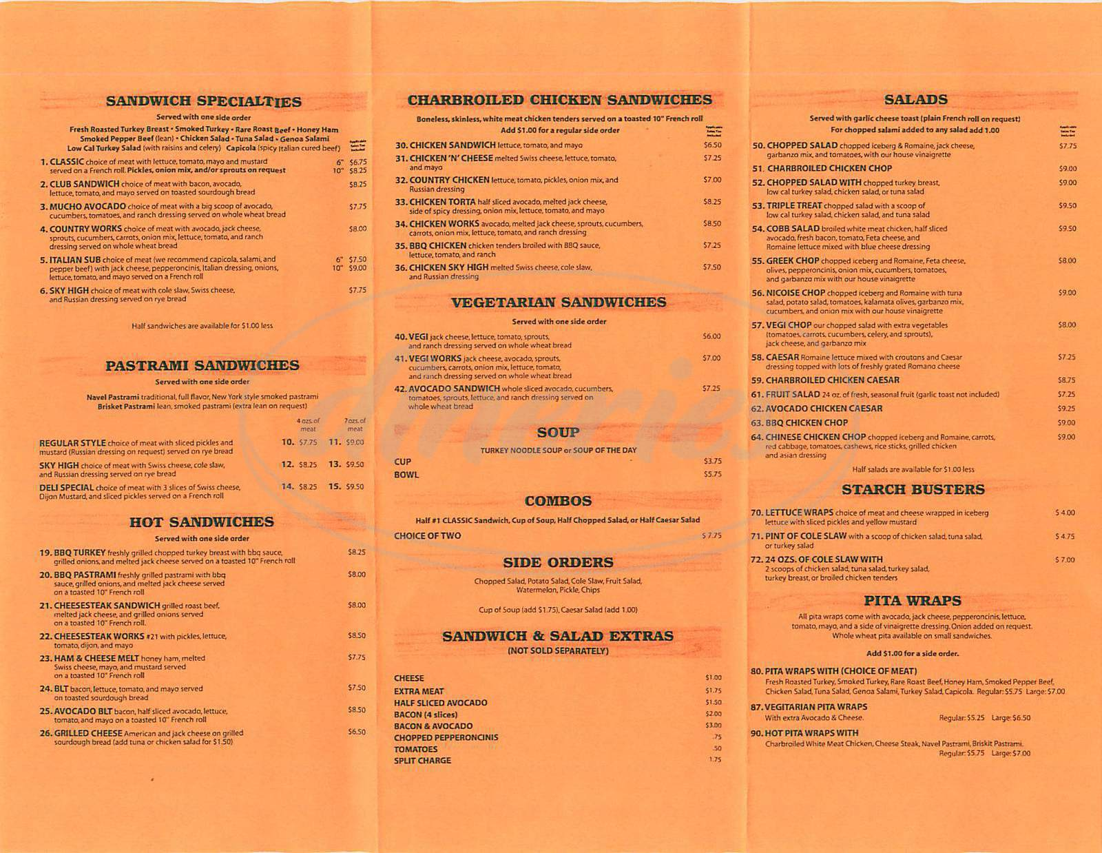menu for Suzanne's Country Deli