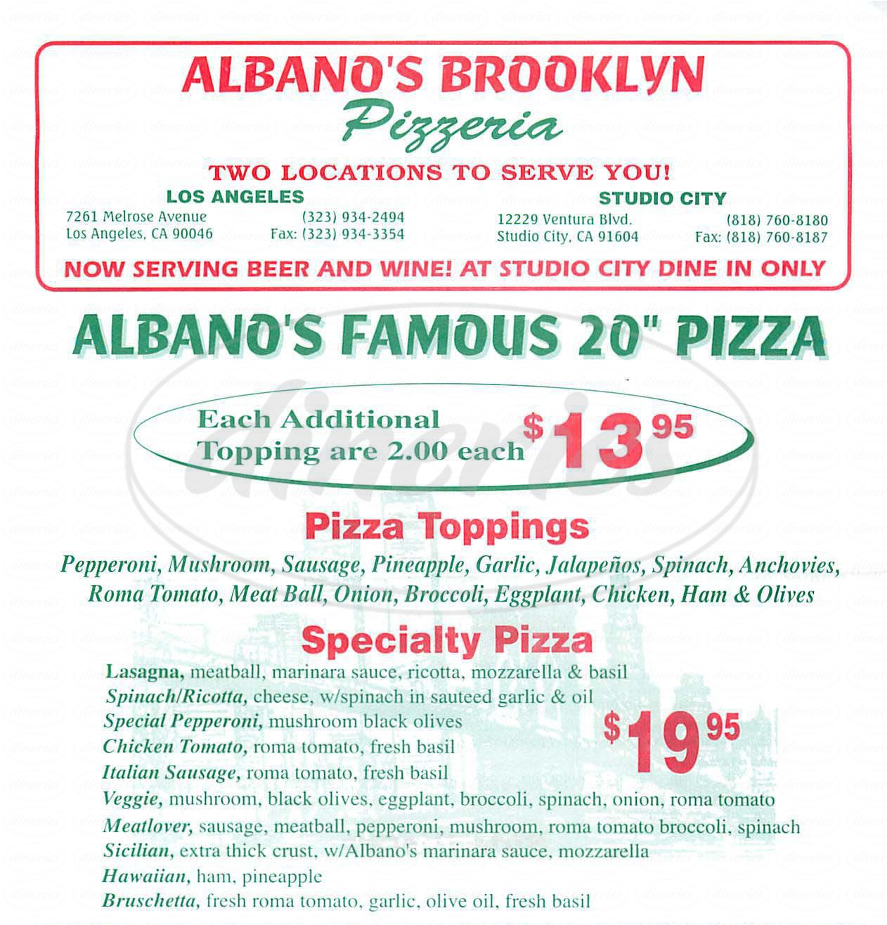 menu for Albano's Brooklyn Pizzeria