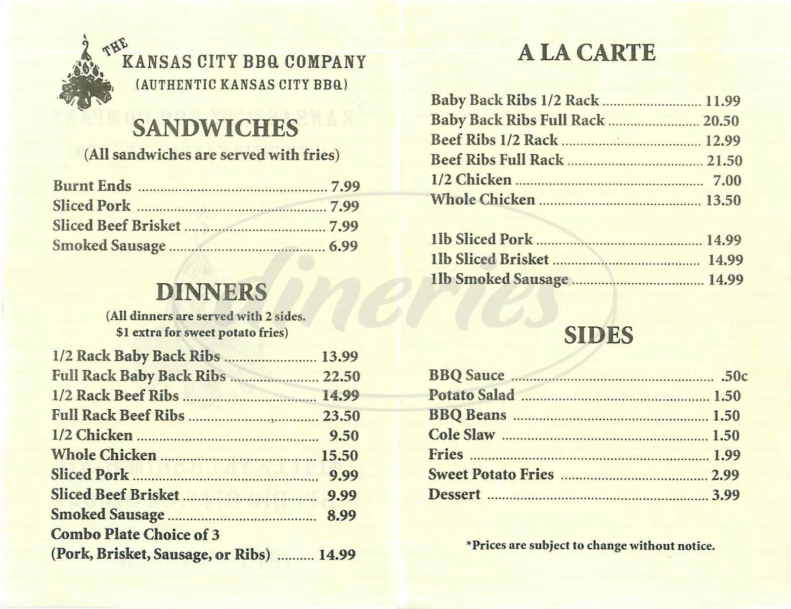 menu for Kansas City BBQ Company