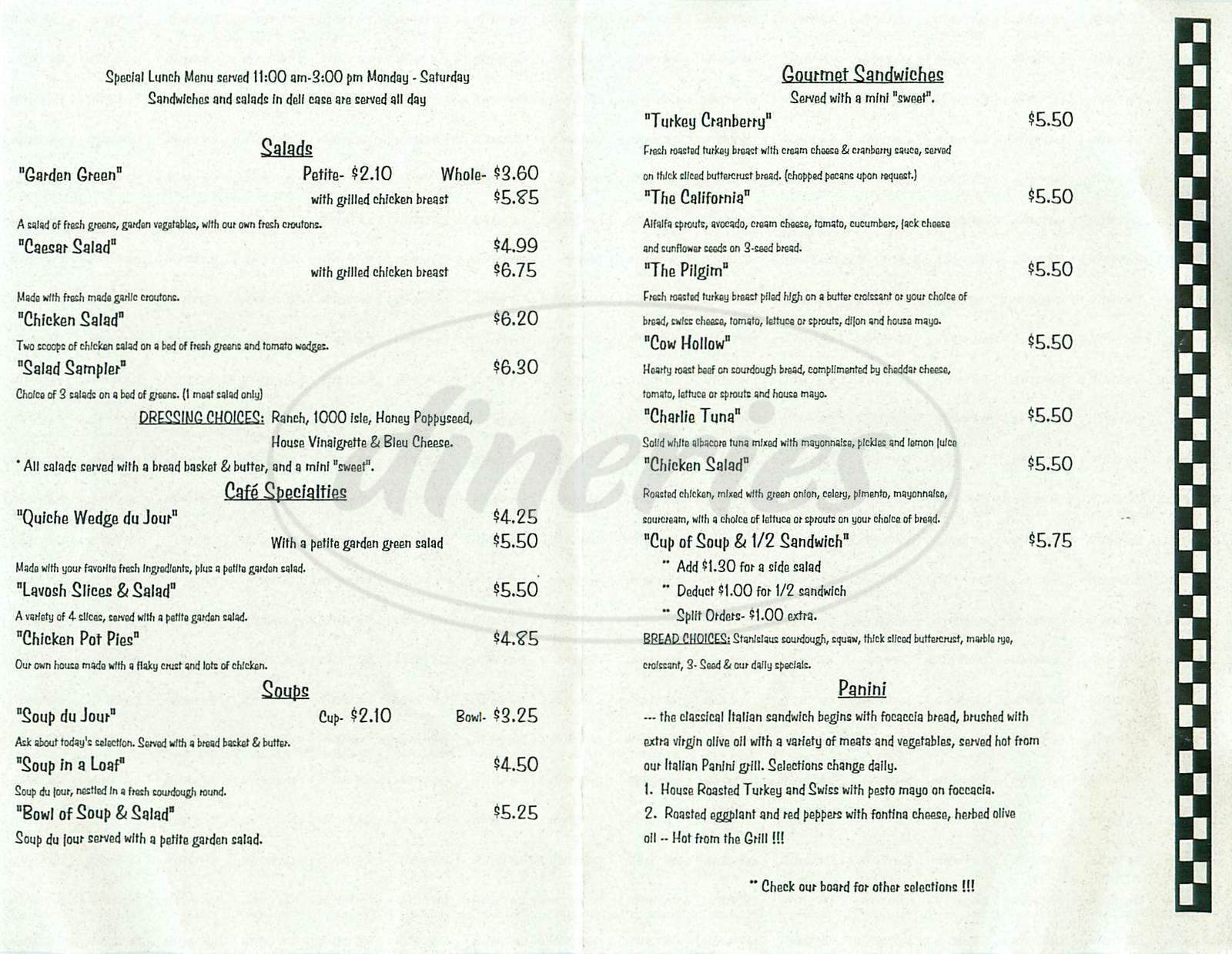 menu for Village Baking Company & Cafe