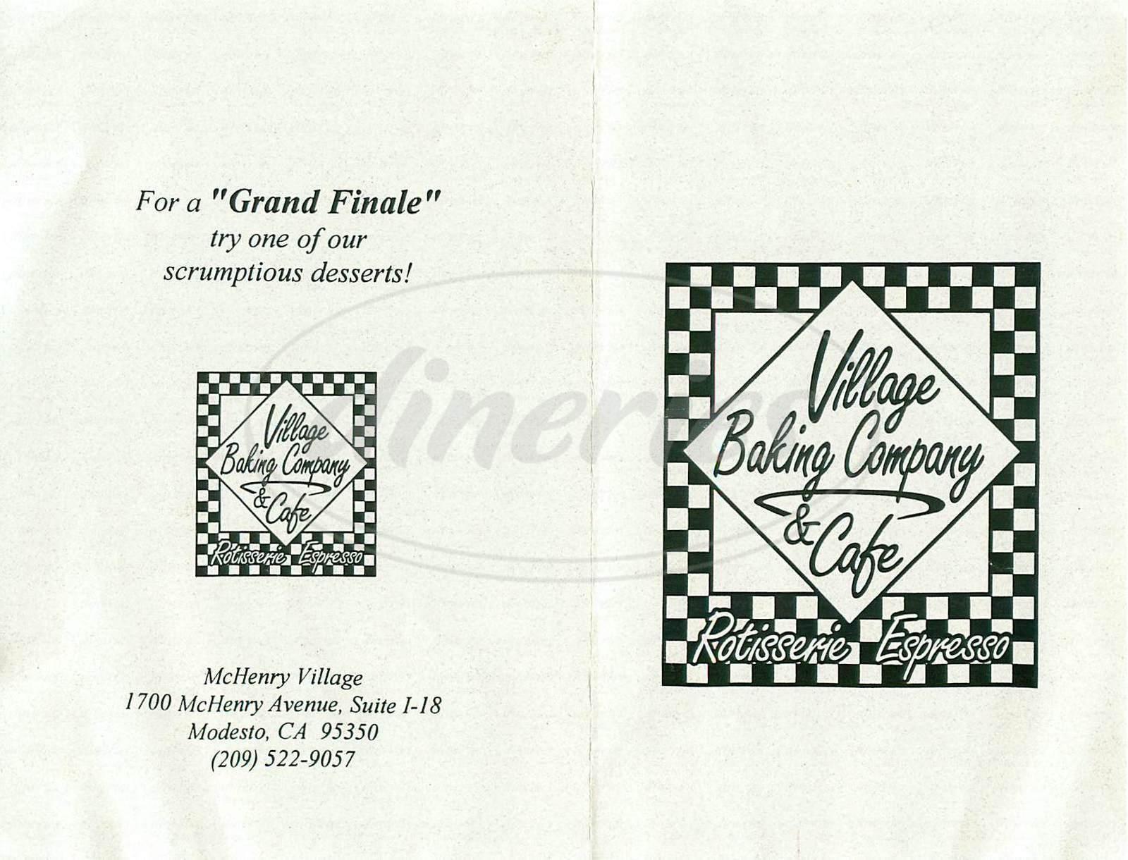 menu for Village Baking Company & Cafe
