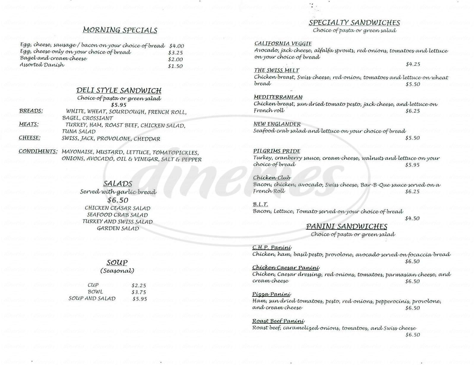 menu for Caffe Genowa