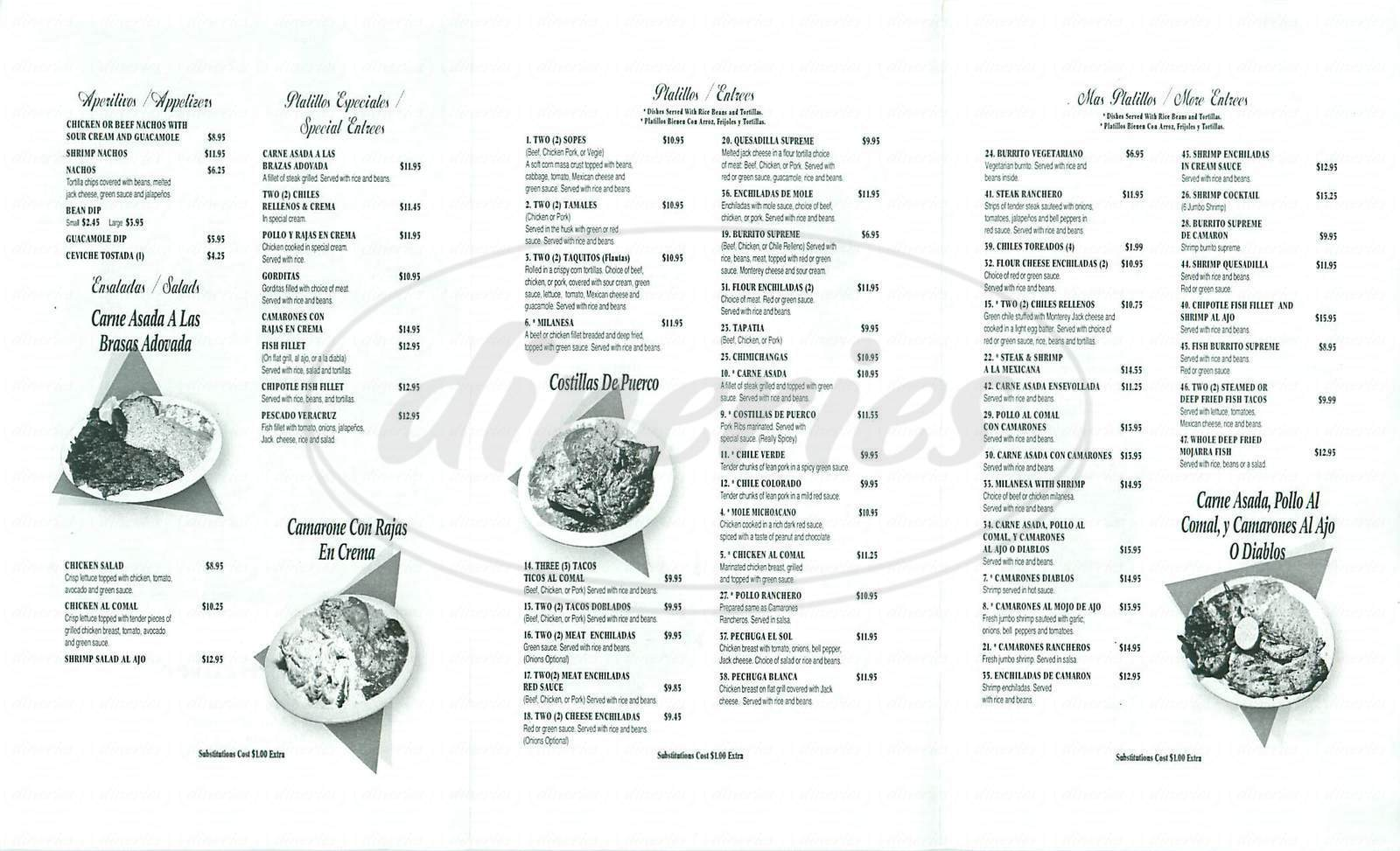 menu for El Sol
