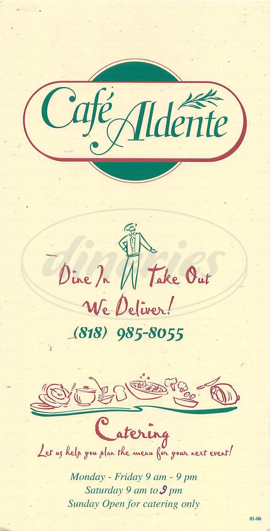 menu for Cafe Aldente
