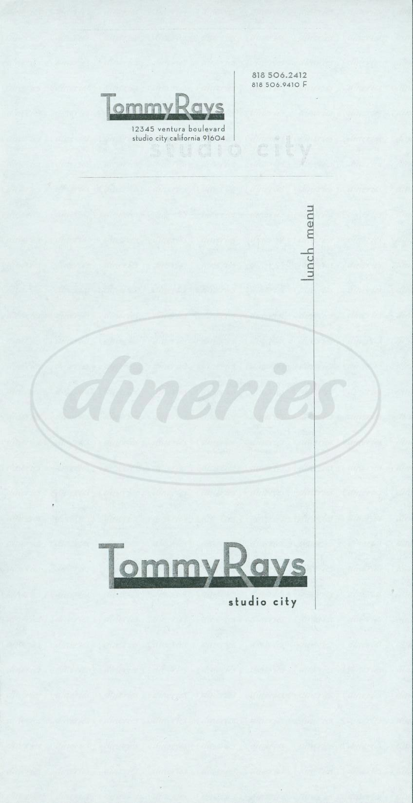 menu for Tommy Rays