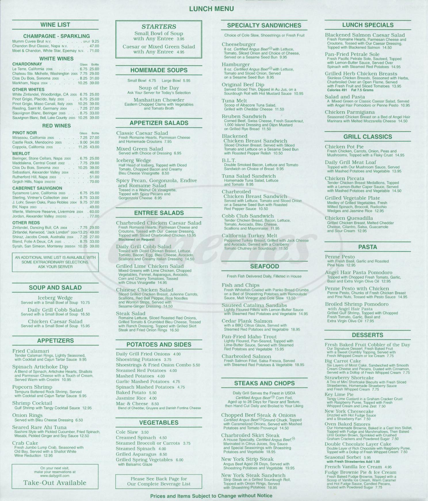 menu for Daily Grill