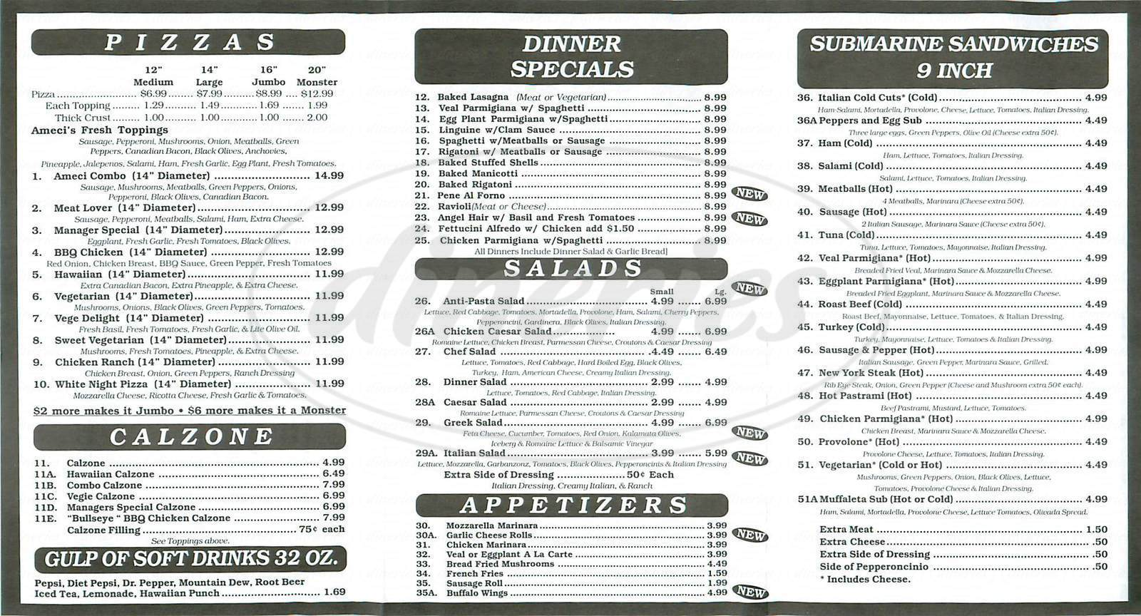 menu for Ameci Pizza & Pasta