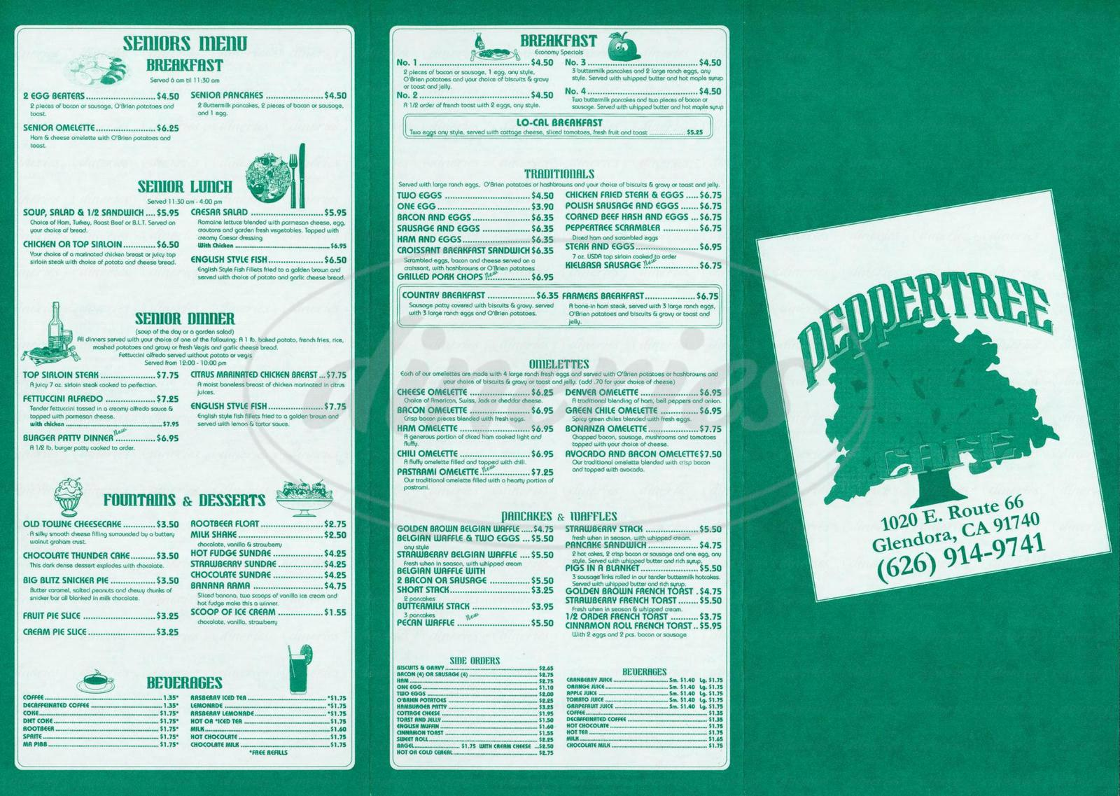 menu for Peppertree Cafe