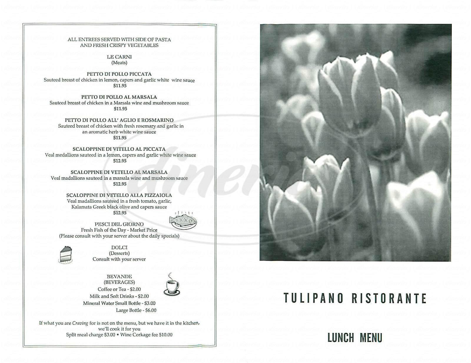 menu for Tulipano Ristorante