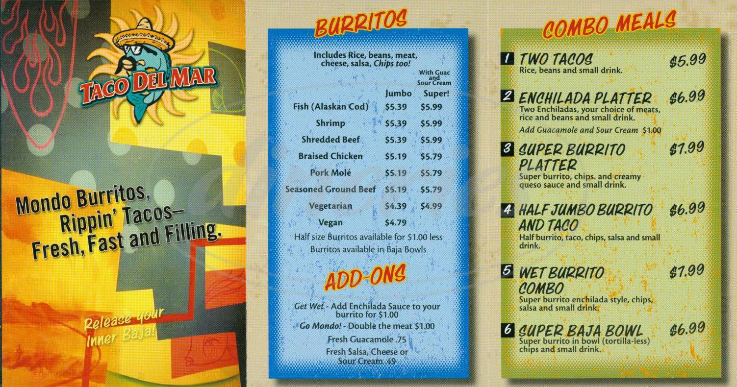 menu for Taco del Mar