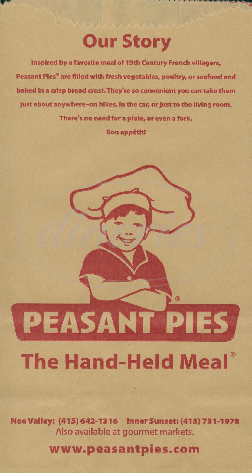menu for Peasant Pies
