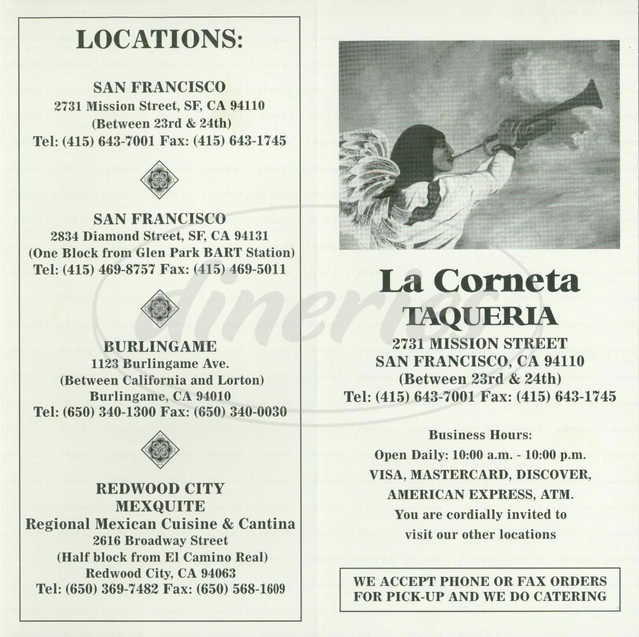 menu for La Corneta Taqueria