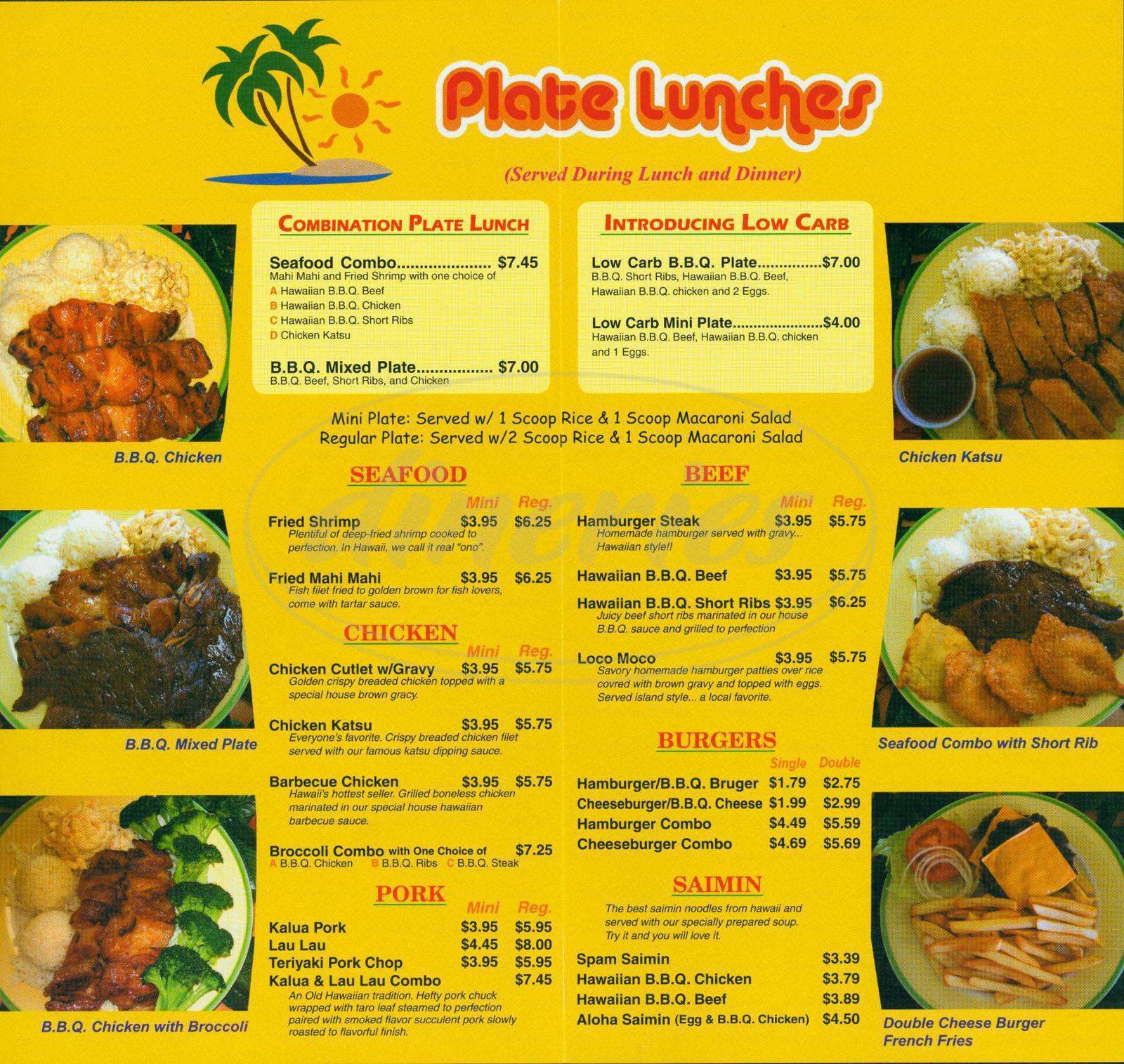 menu for Hawaiian Drive Inn