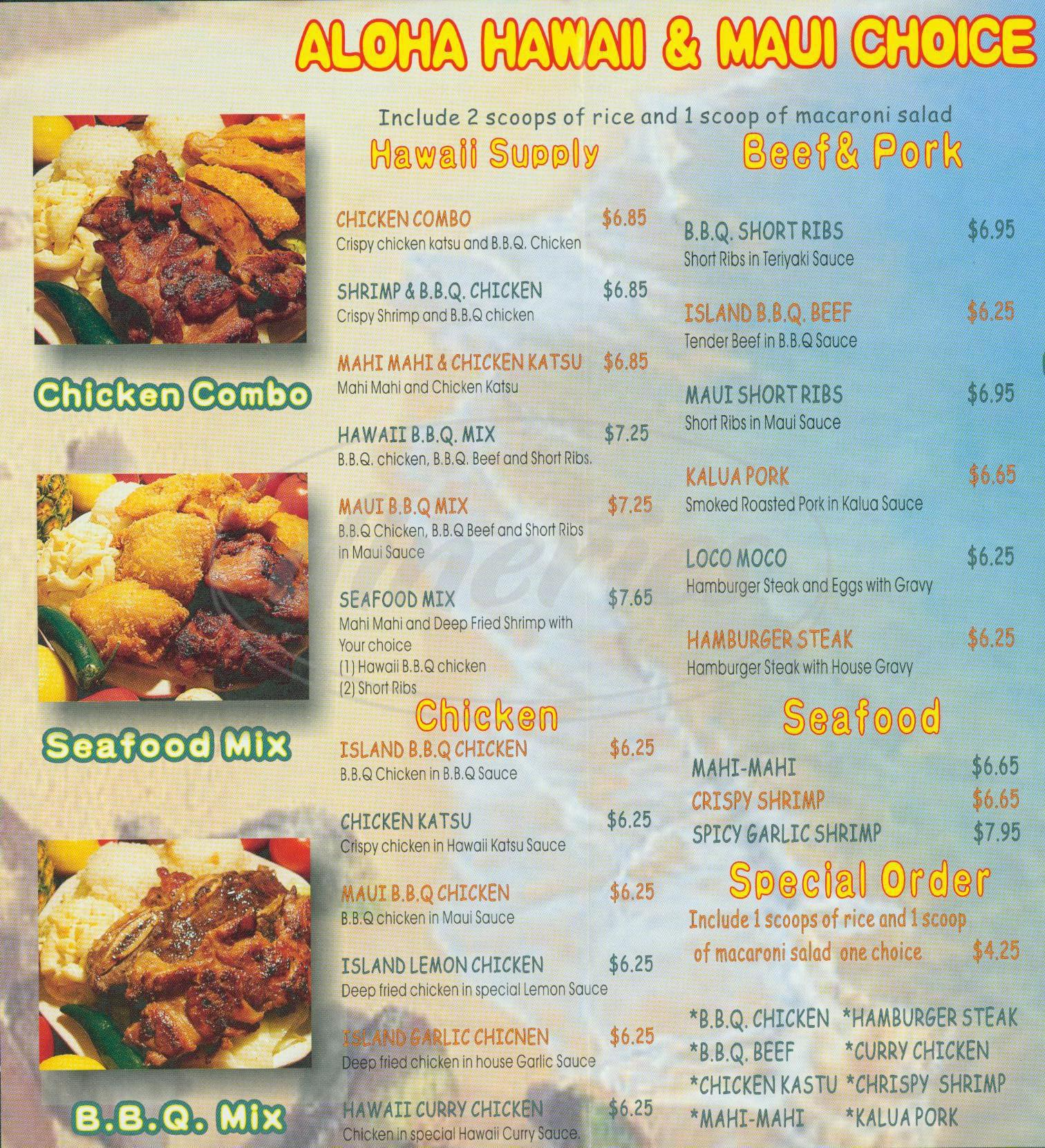 menu for Hawaiian Ming Gu BBQ