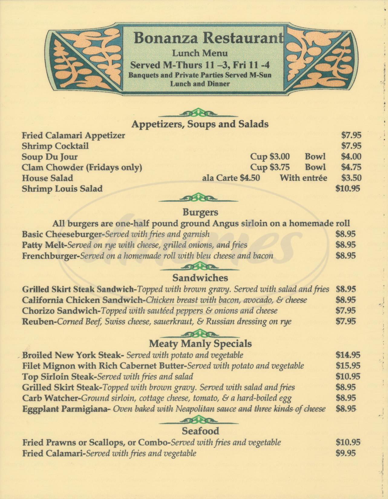 menu for Bonanza Restaurant
