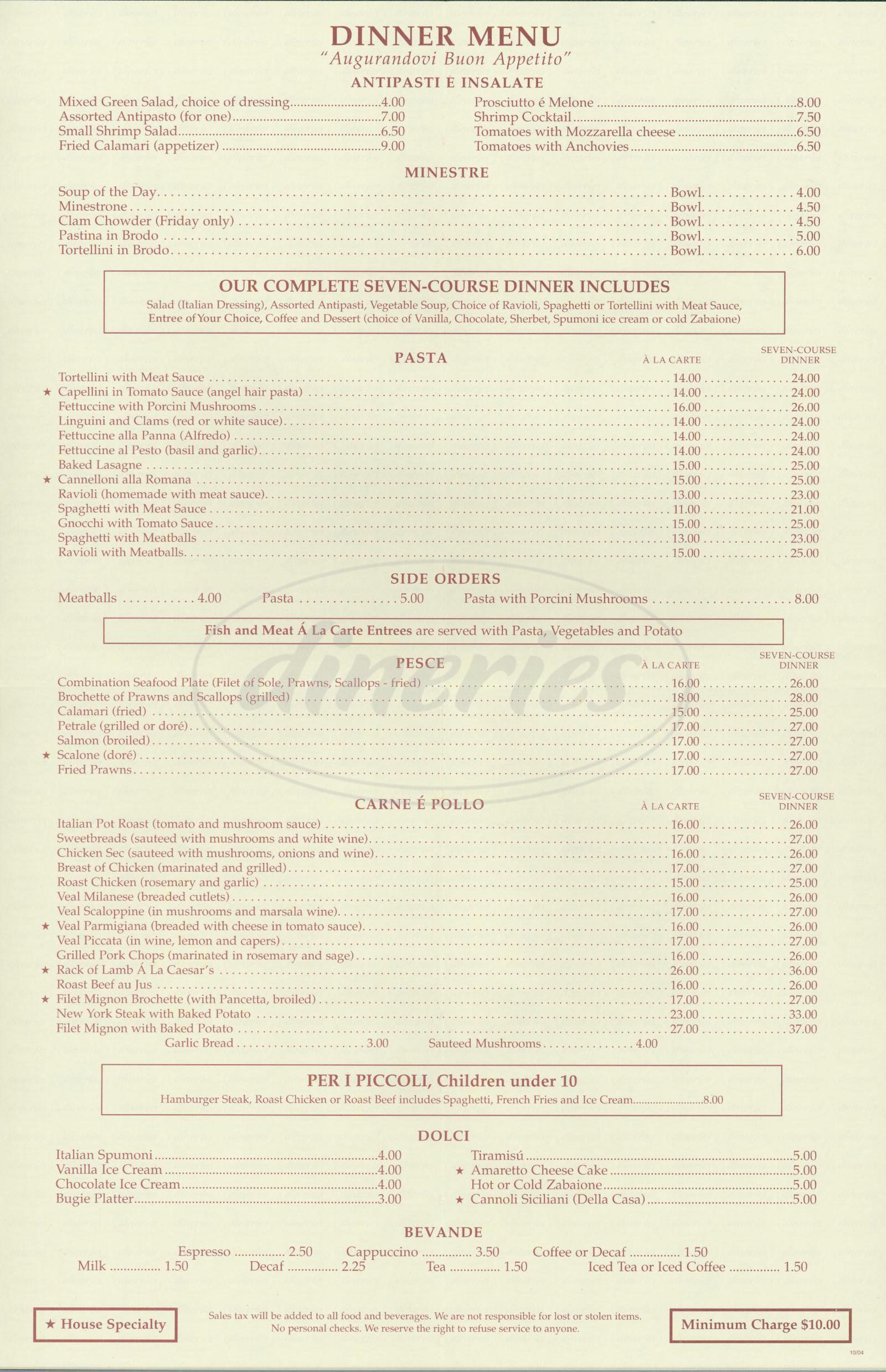 menu for Caesar's Italian Restaurant