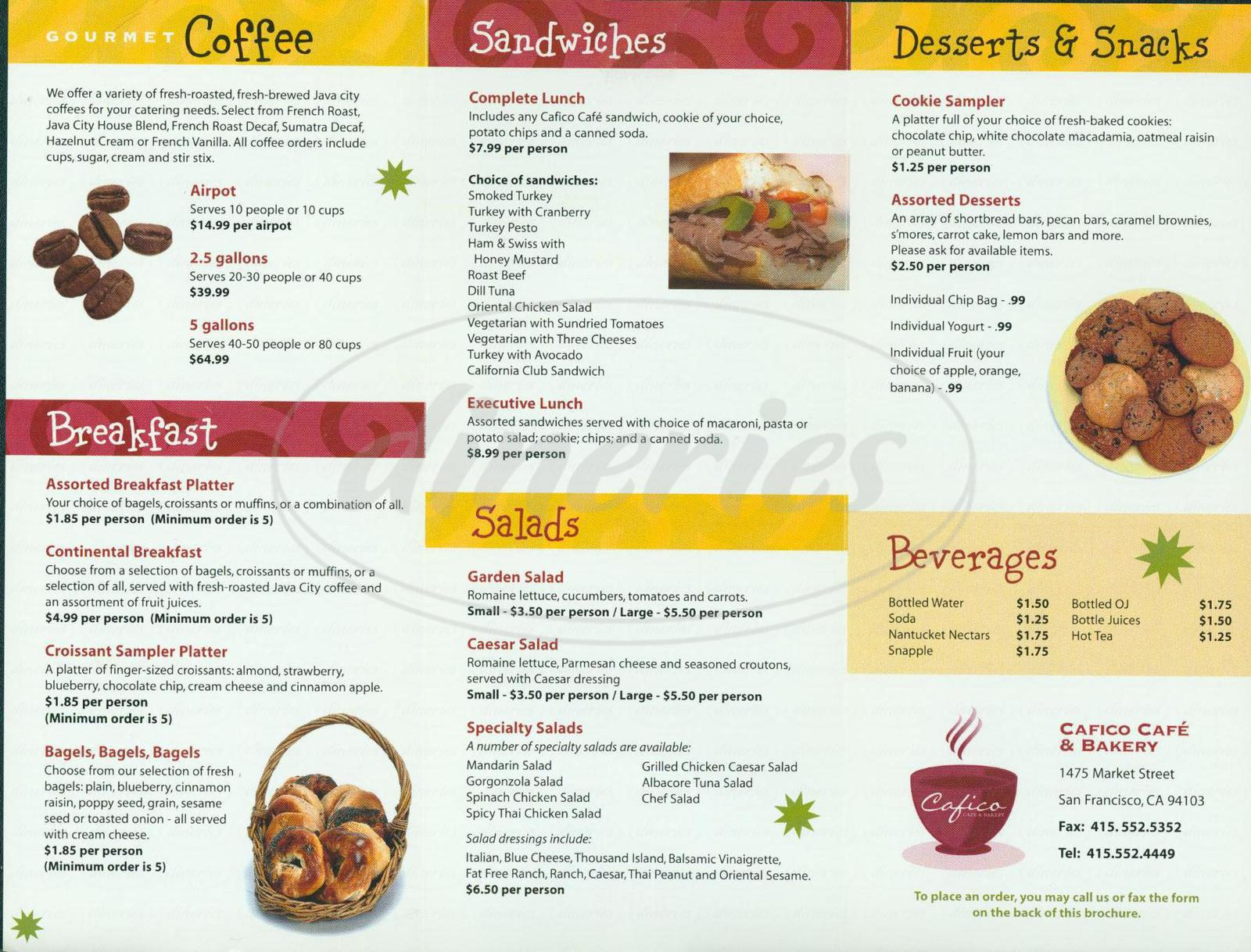 menu for Cafico Cafe & Bakery