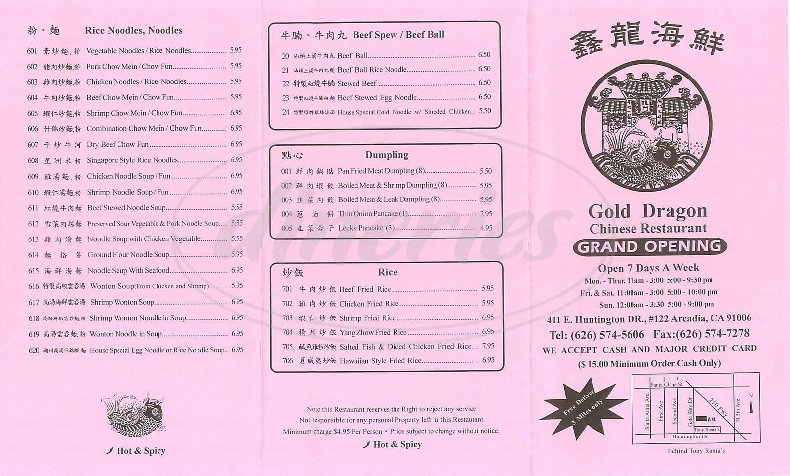menu for Golden Dragon