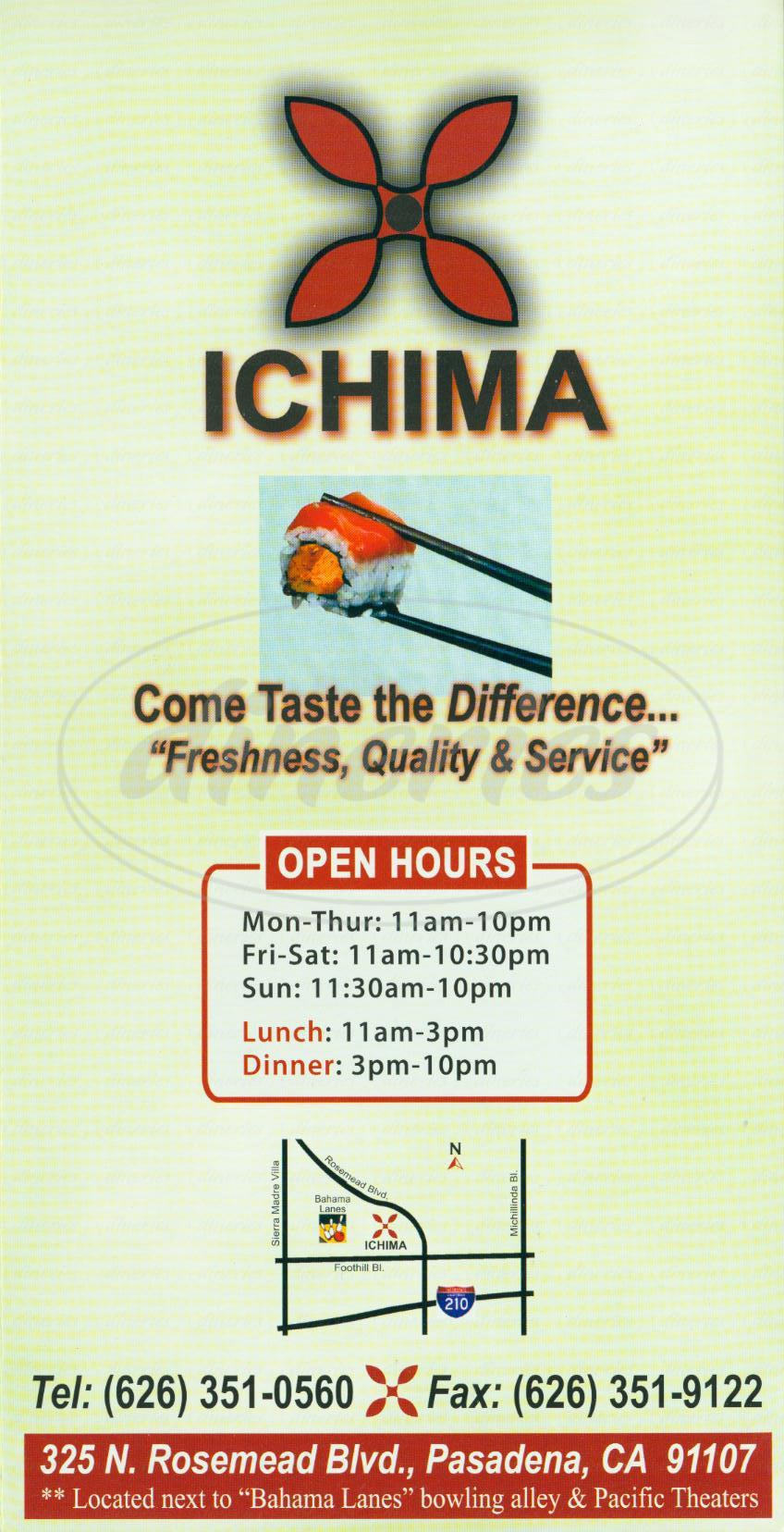 menu for Ichima