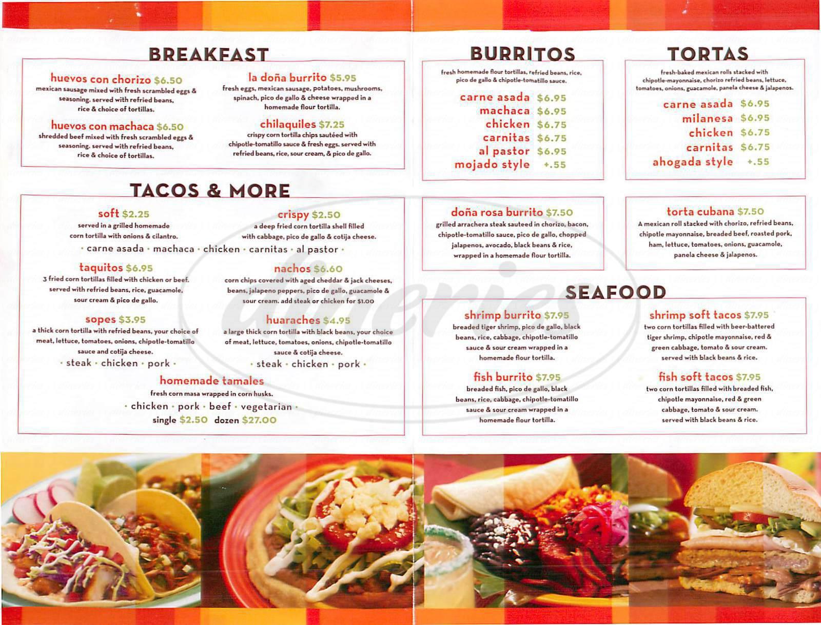menu for Dona Rosa