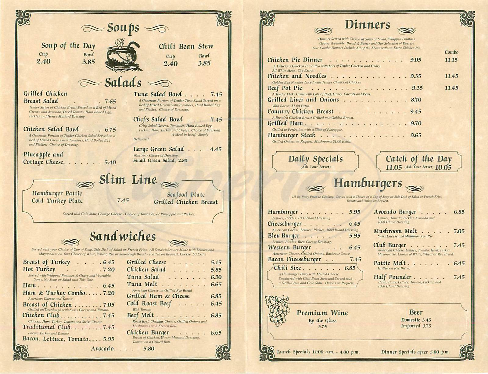 menu for Moffett's Family Restaurant