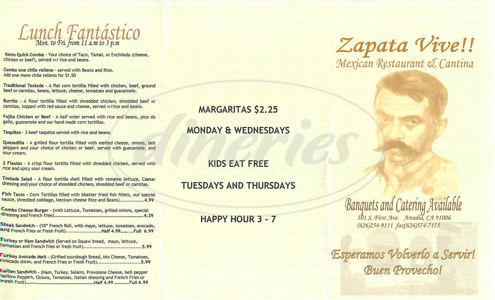 menu for Zapata Vive