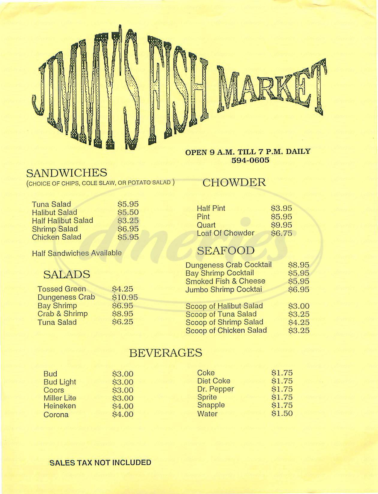 menu for Jimmy's Fish Market