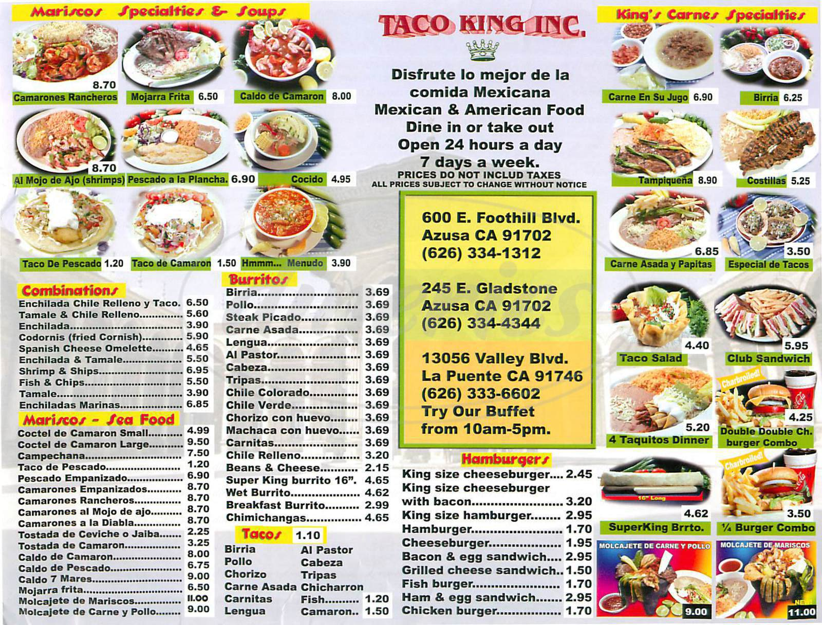 menu for King Taco
