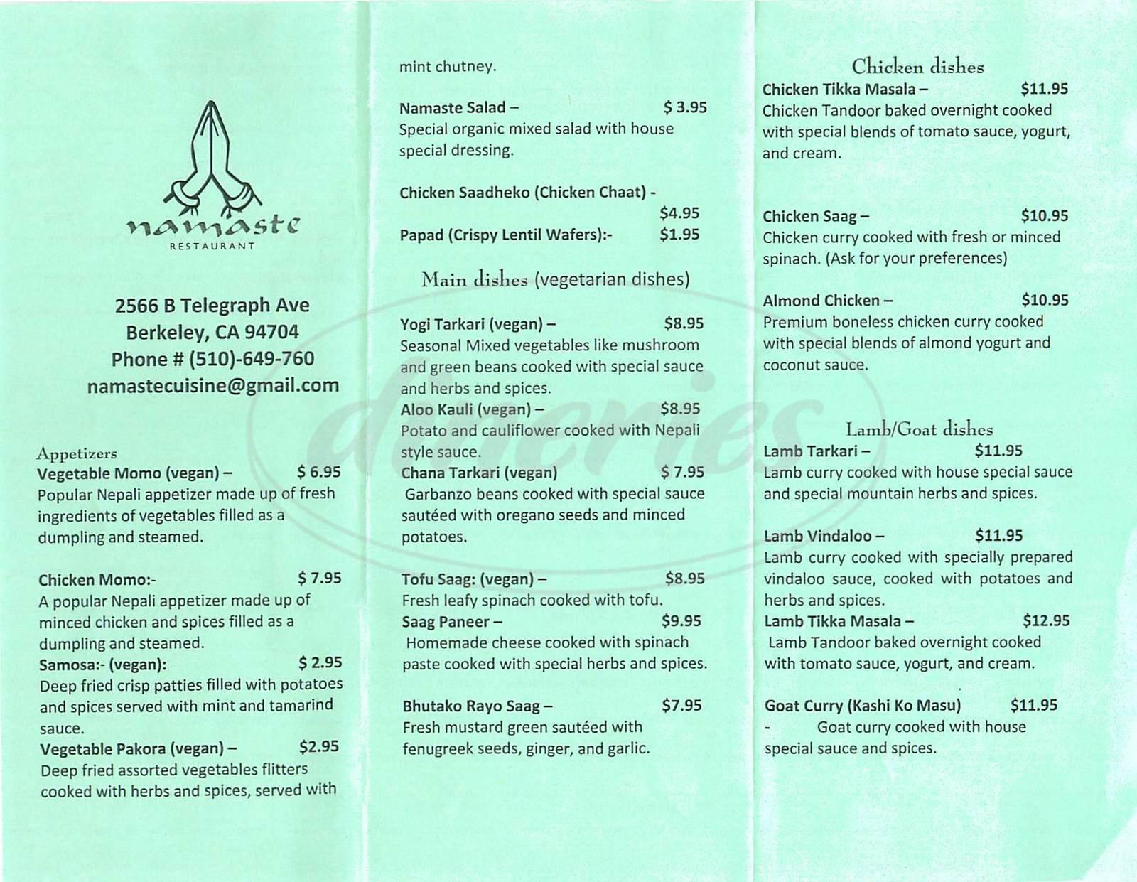 menu for Namaste