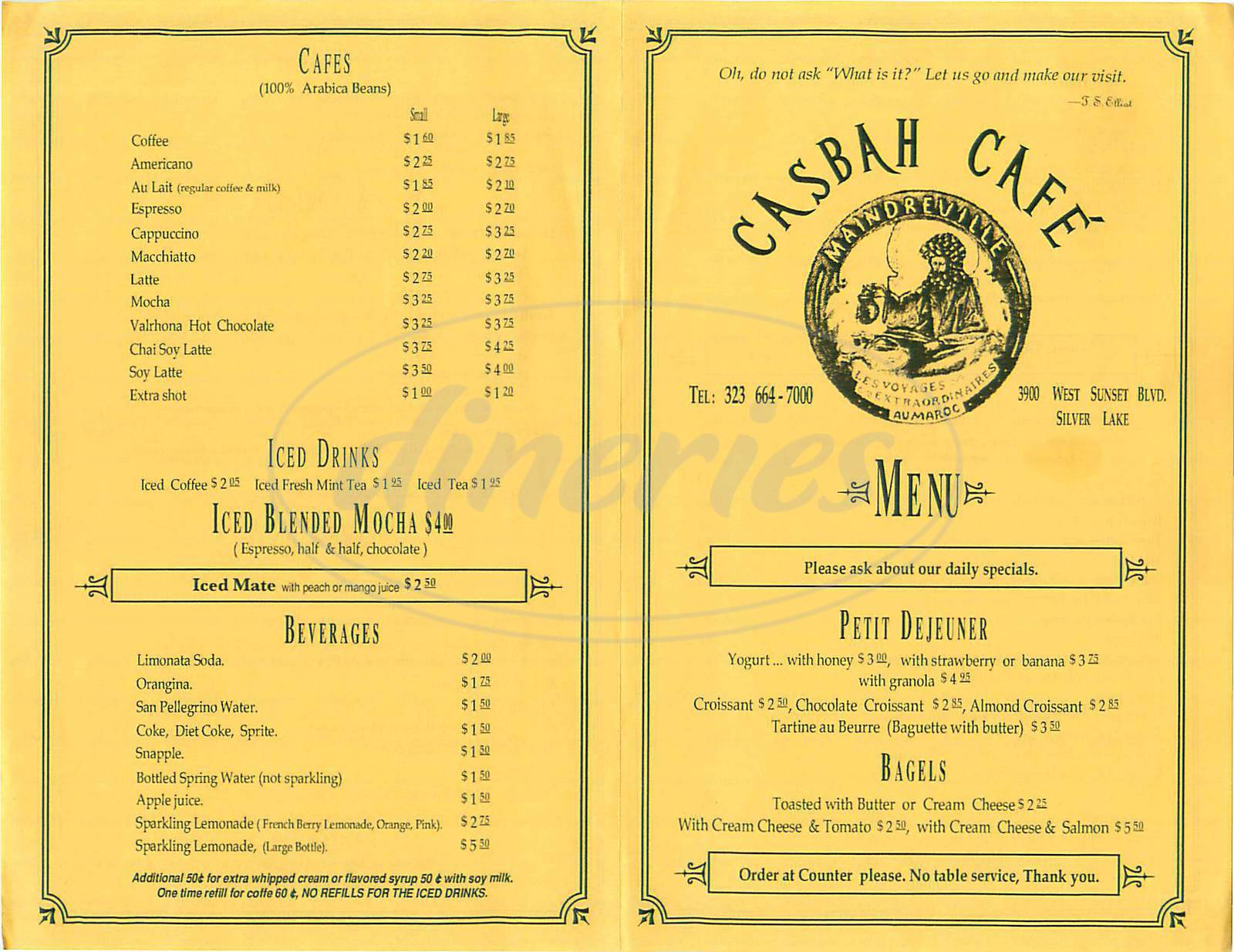 menu for Casbah Cafe