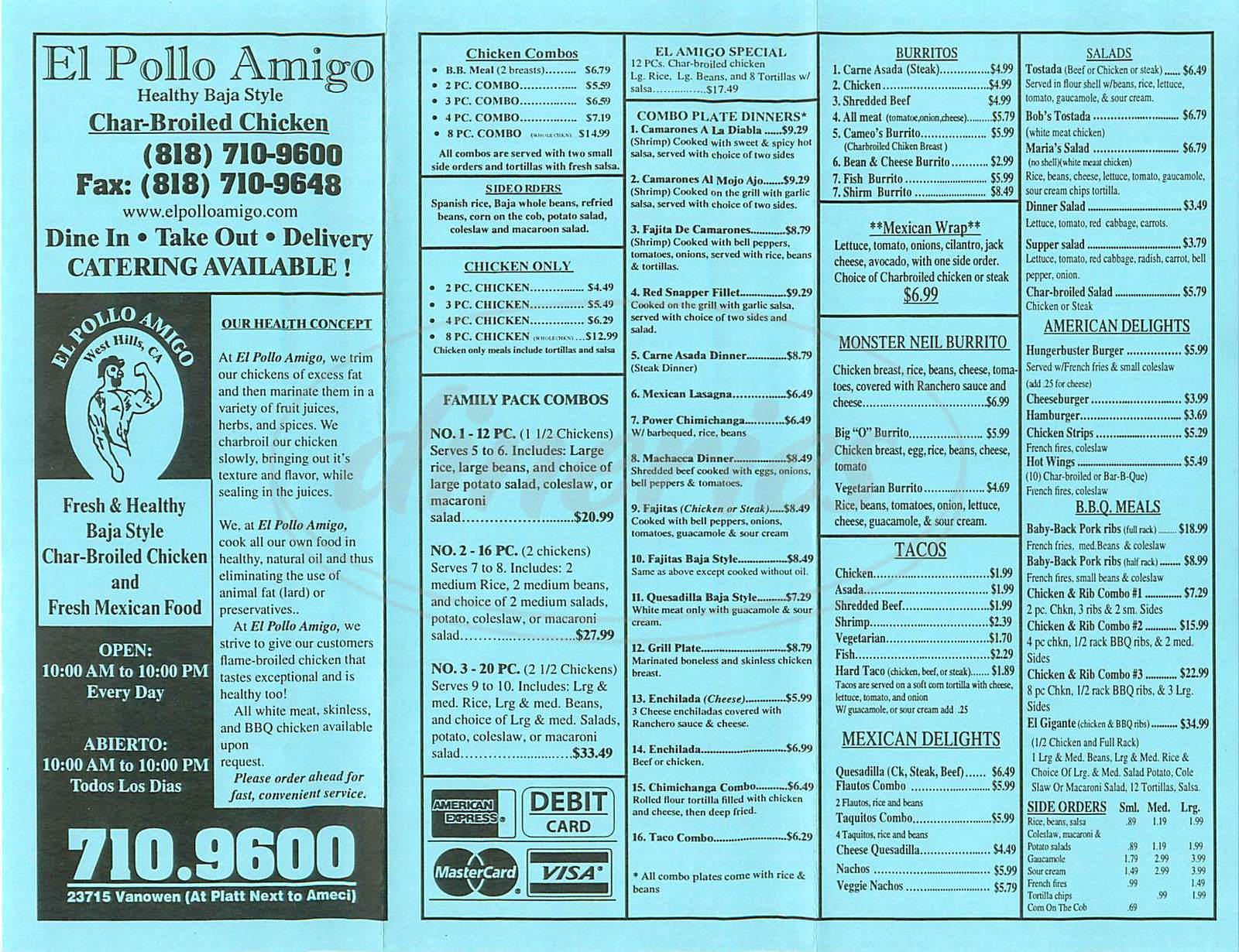 menu for El Pollo Amigo