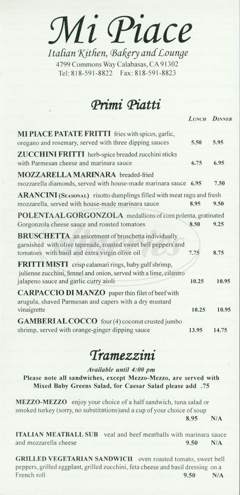 menu for Mi Piace