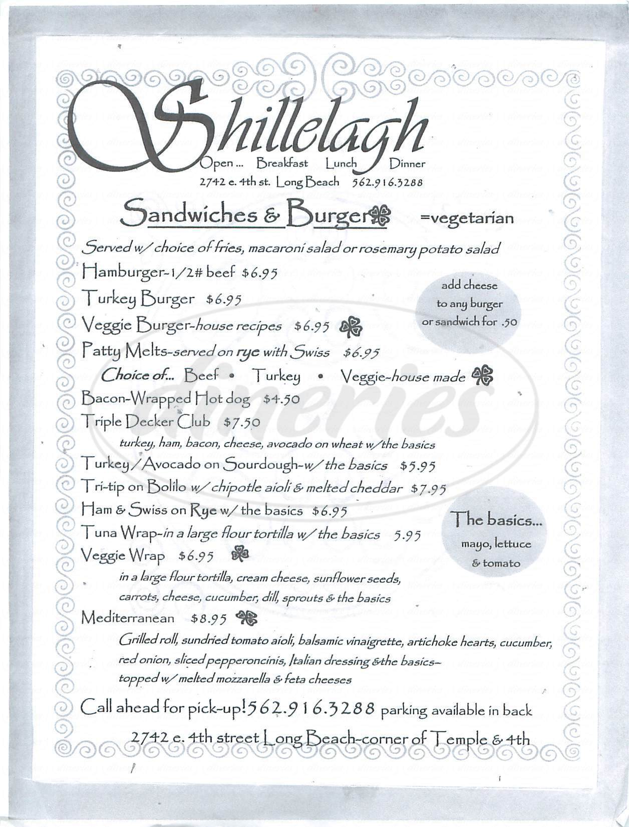 menu for Shillelagh