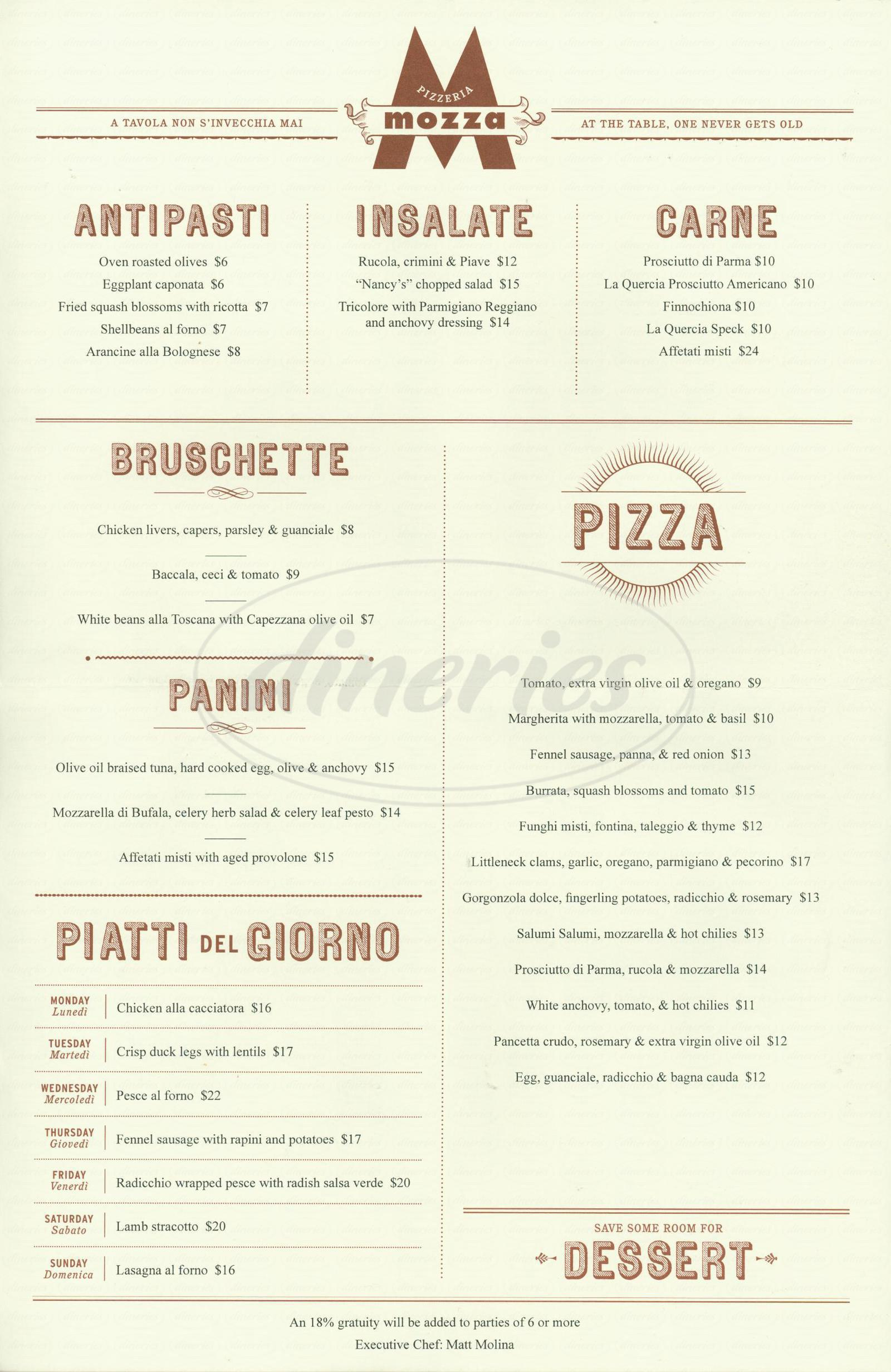 menu for Pizzeria Mozza