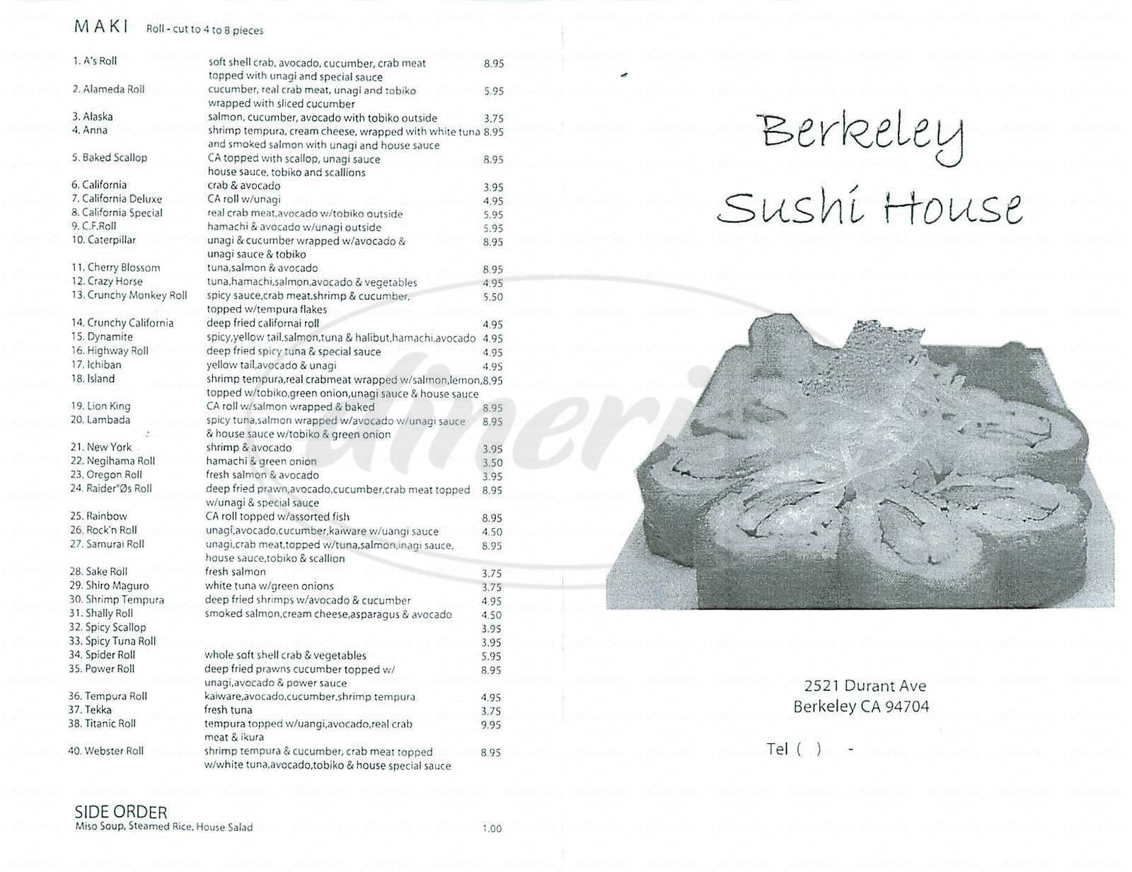 menu for Berkeley Sushi House
