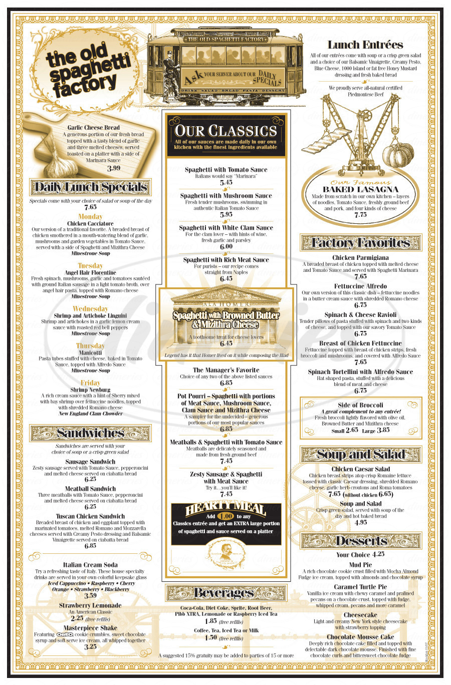 menu for The Old Spaghetti Factory
