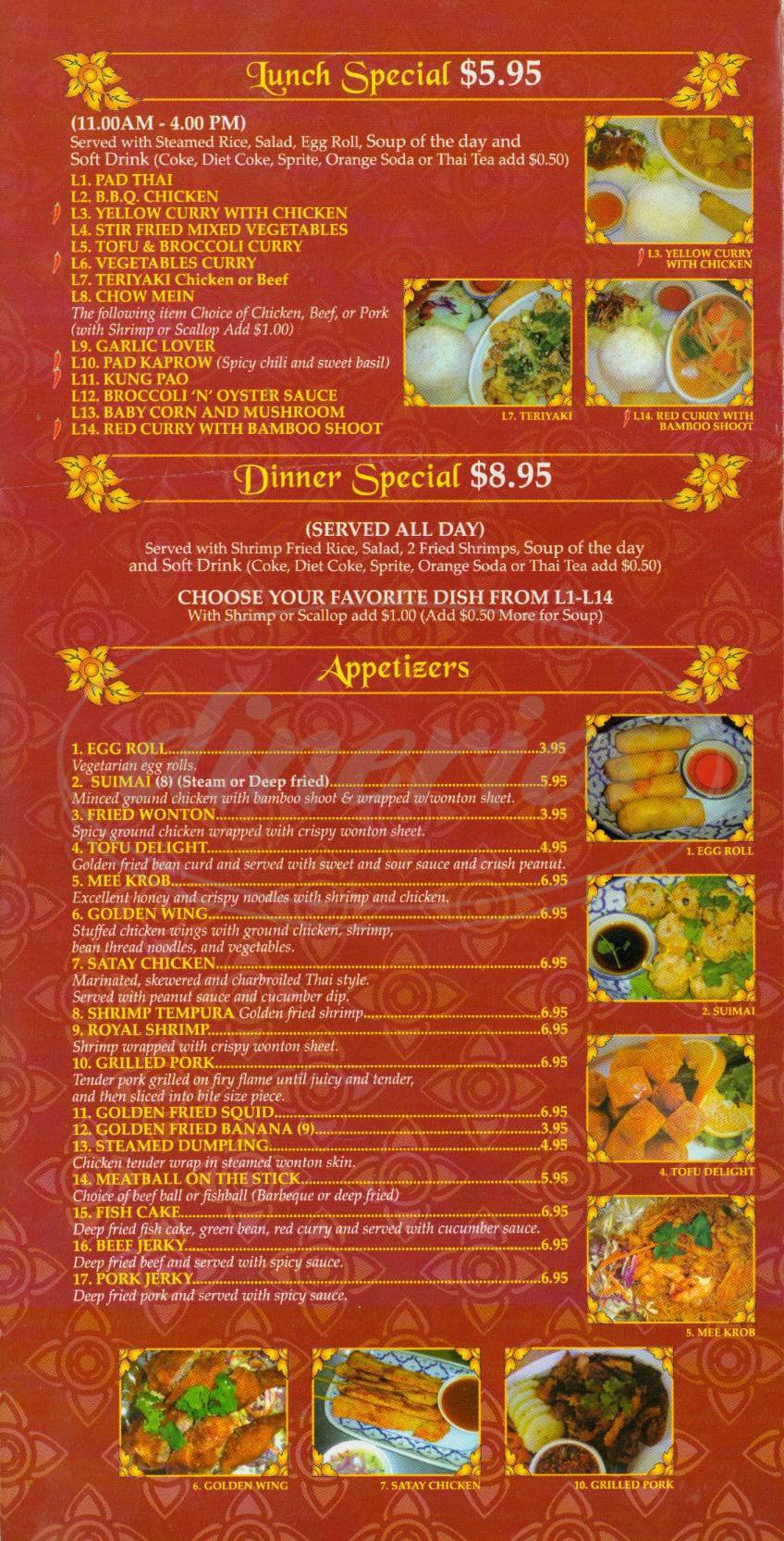 menu for Flavor of Thai