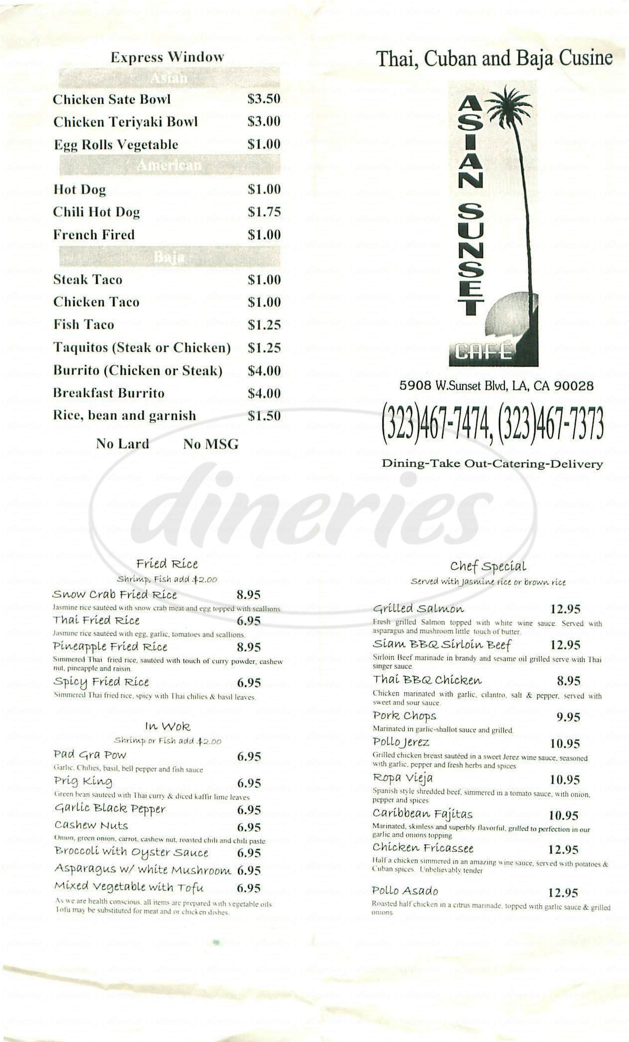 menu for Asian Sunset