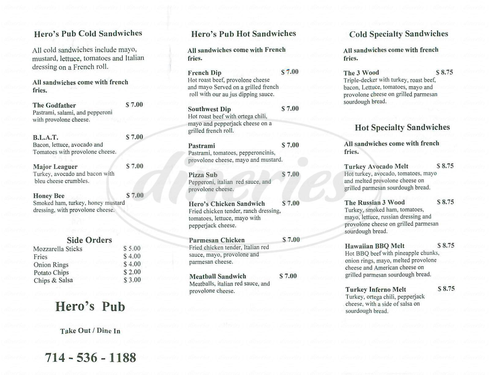 menu for Hero's Pub