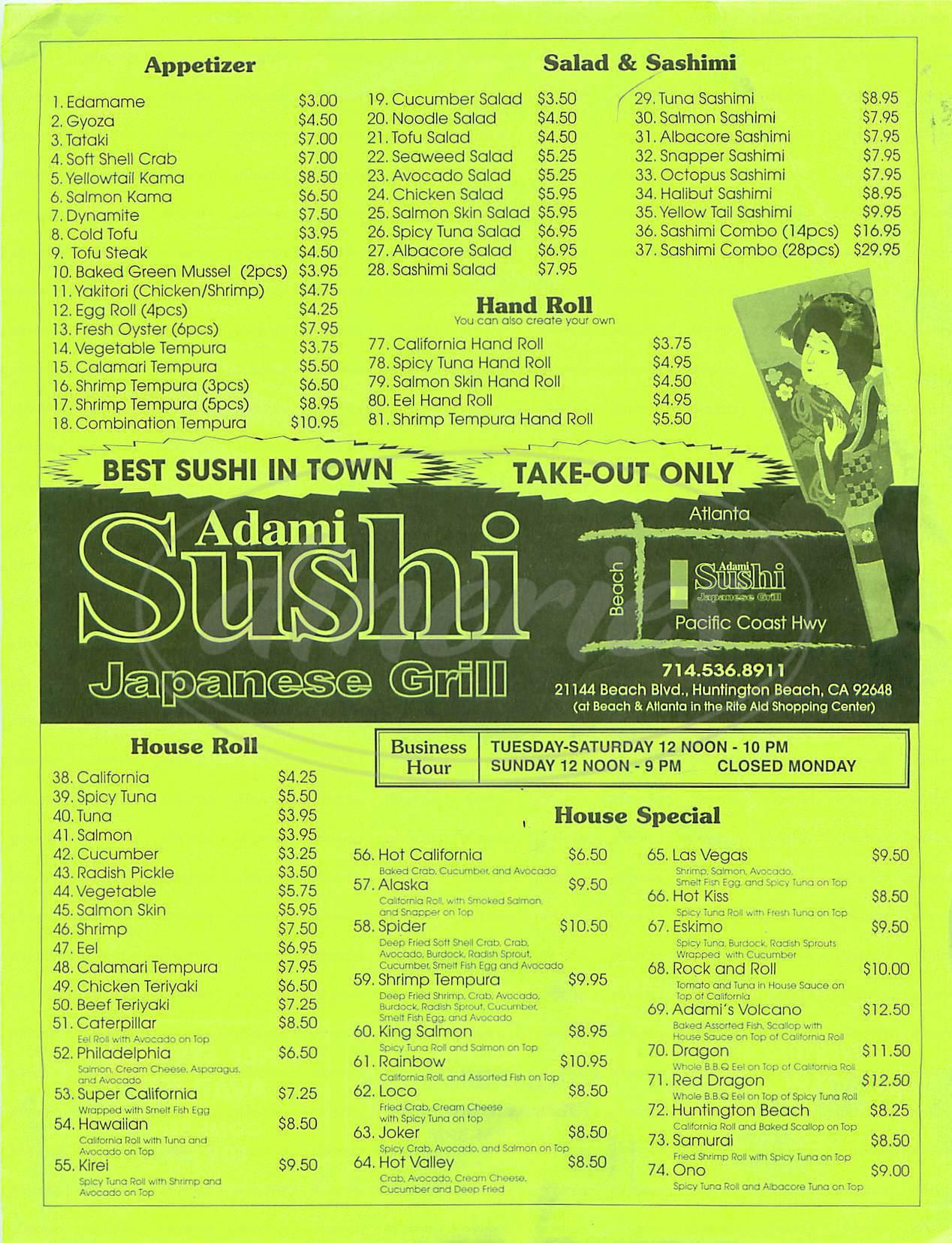 menu for Adami Sushi