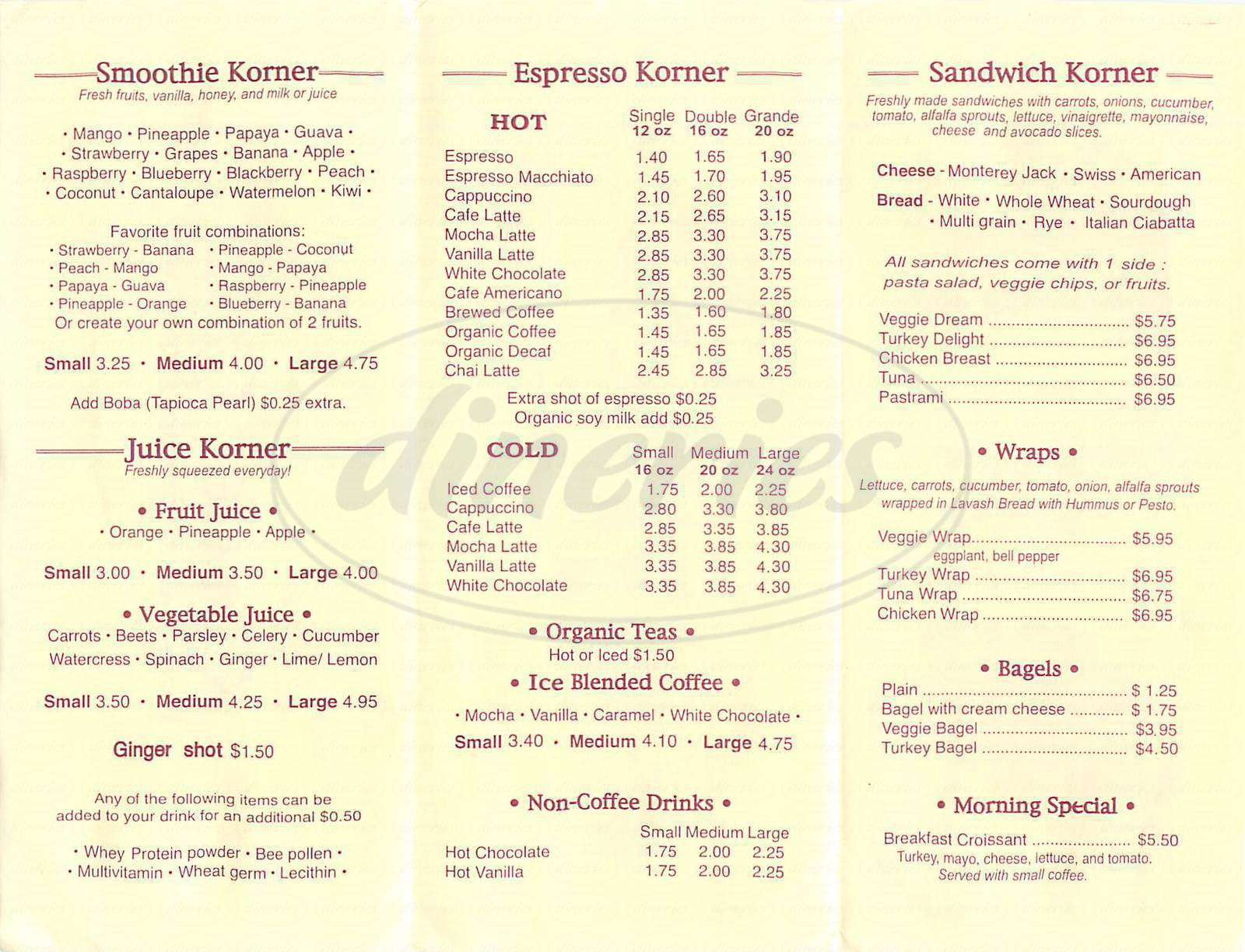 menu for Korner Cafe