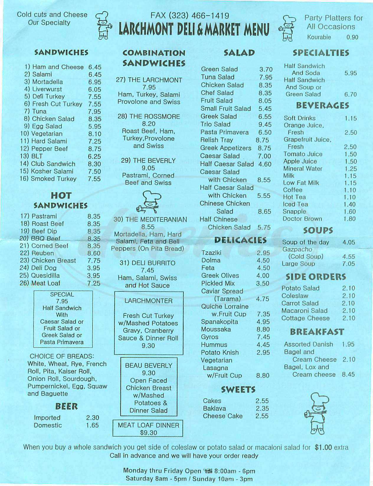 menu for Larchmont Deli