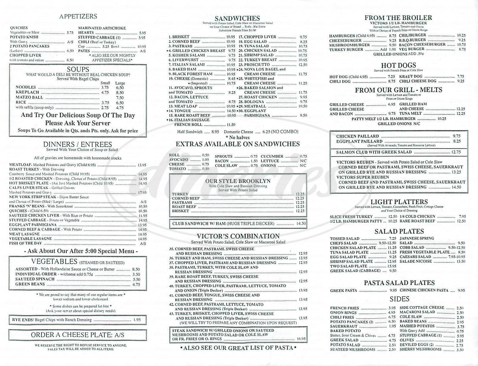menu for Victors