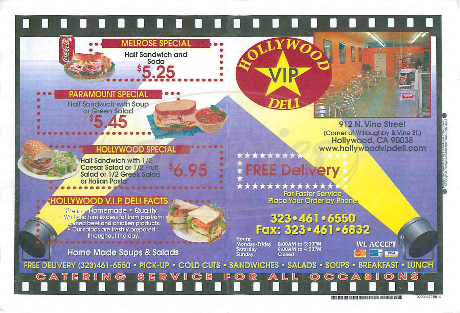 menu for Hollywood VIP Deli