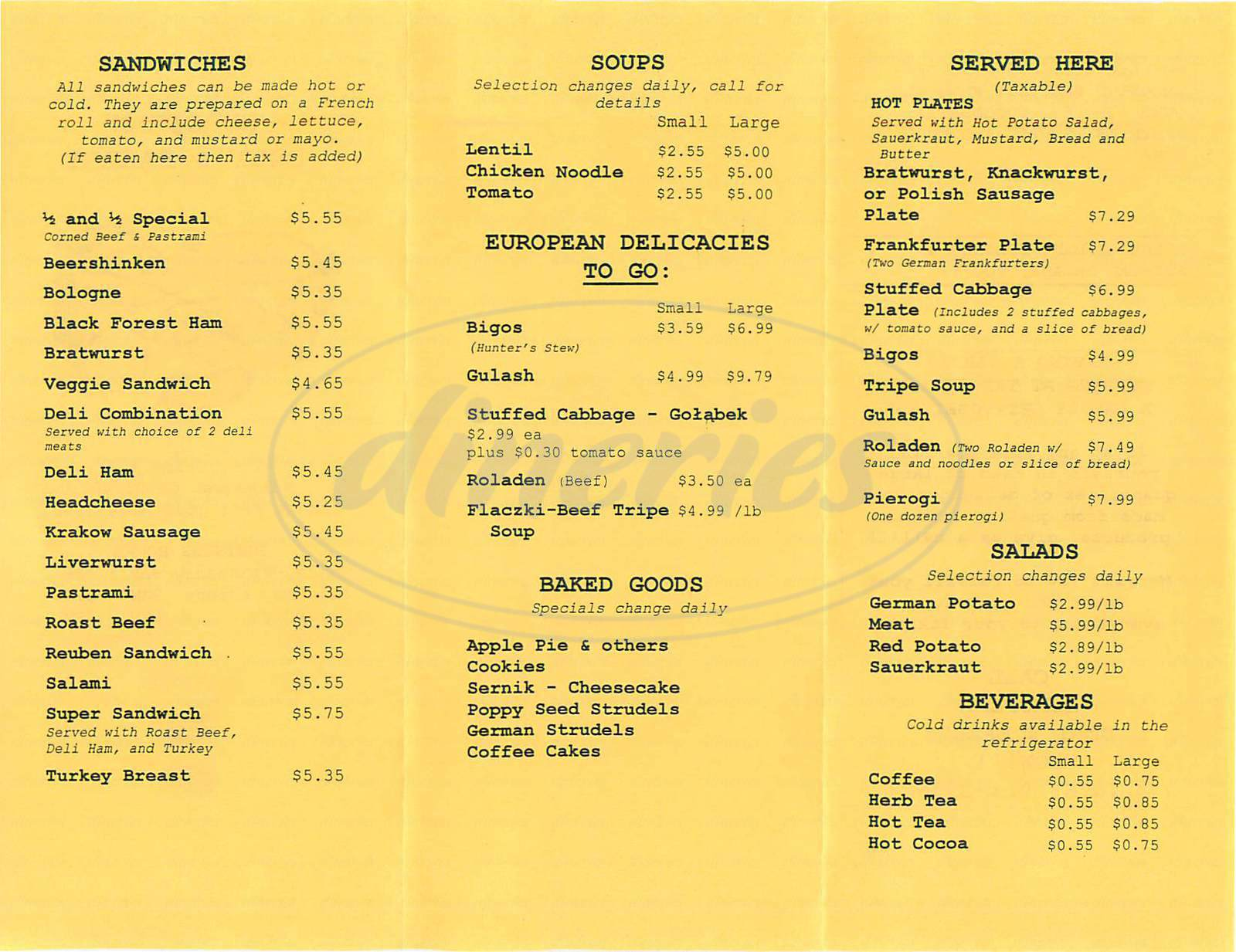 menu for European Deli & Bakery
