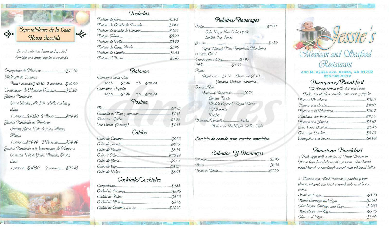 menu for Jessie's Mexican Restaurant